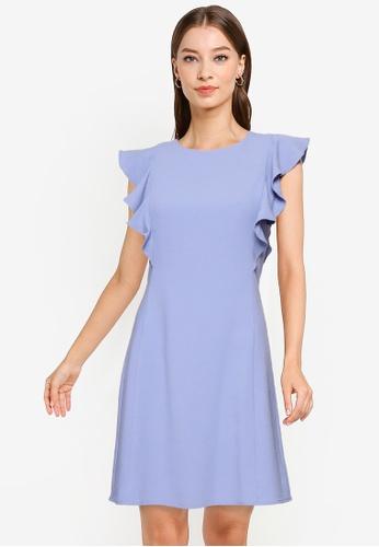 URBAN REVIVO purple Flutter Sleeve Dress AB413AAE4CF834GS_1