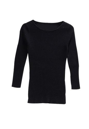 KLAPS black Contrast Knit Sweater 0959AAAABA5091GS_1