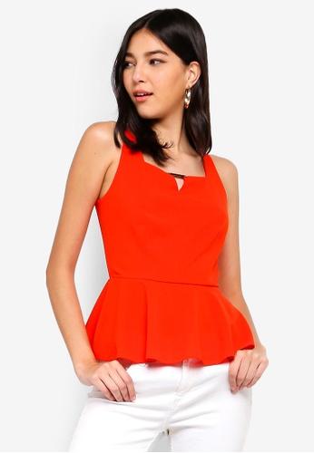 ZALORA orange Notched Neck Peplum Top 861C0AA1E543E5GS_1
