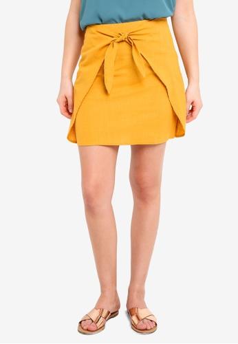 Cotton On yellow Woven Kelly Knot Front Mini Skirt D1F04AA9D4211CGS_1