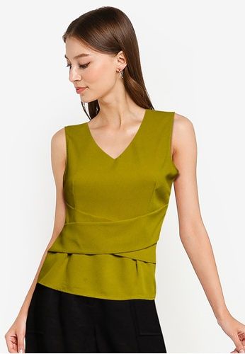 ZALORA WORK green Criss Cross Detail Sleeveless Top AF391AAD838188GS_1