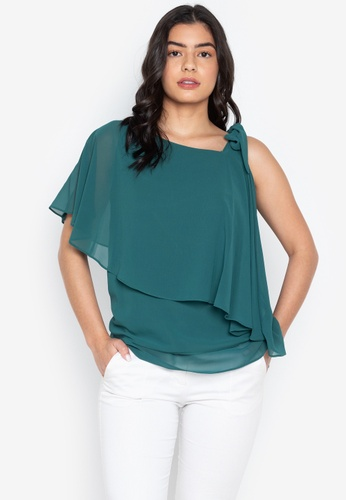 CIGNAL green One Shoulder Ribbon Blouse EE594AA9B94718GS_1