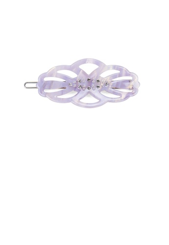 Glamorousky white Fashion Simple Purple Hollow Leaf Hair Clip with Cubic Zirconia 8DAE9ACC9D4A74GS_1