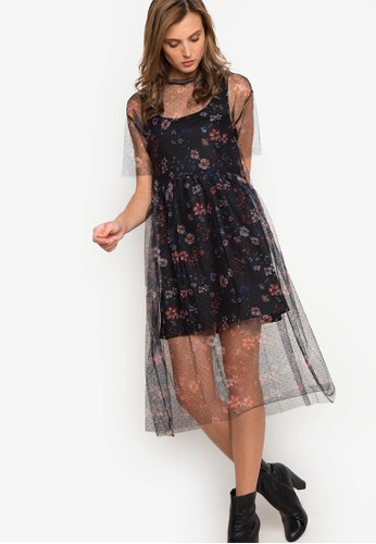 Mango black Floral Tulle Dress MA134AA70QYVPH_1