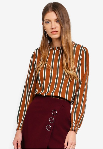 Tokichoi brown Striped Chiffon Blouse EE750AA23D5753GS_1