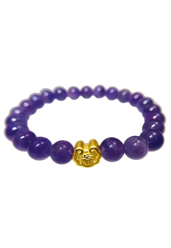 LITZ purple and gold [SPECIAL] LITZ 999 (24K) Gold Fortune Lock Charm with free Amethyst Bracelet D71EAACEA21897GS_1