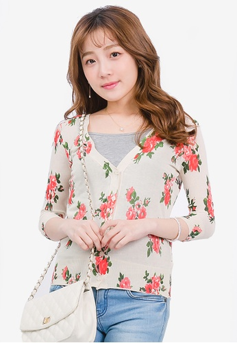 Yoco multi and beige Floral Print Cardigan FFF3AAA578CEE4GS_1
