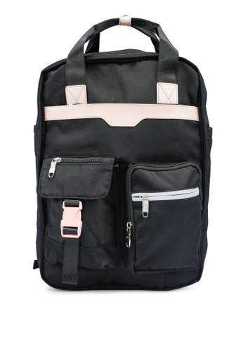 Bagstationz black Colour Block Top Handle Backpack 69B75AC49C3266GS_1