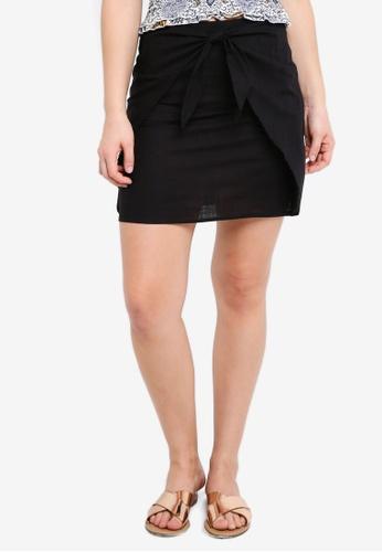 Cotton On black Woven Kelly Knot Front Mini Skirt A968FAA889B15EGS_1