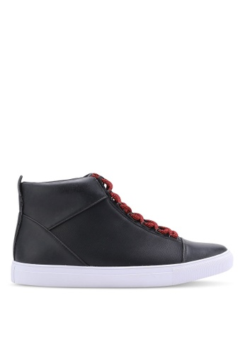 ZALORA black Faux Leather High Top Sneakers 30E31SHF7B882EGS_1