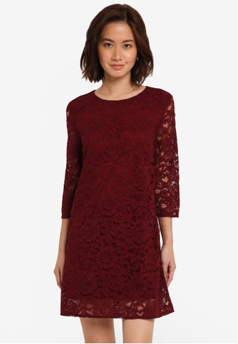 ZALORA red Lace Shift Dress 0E62CAABAC1FF3GS_1