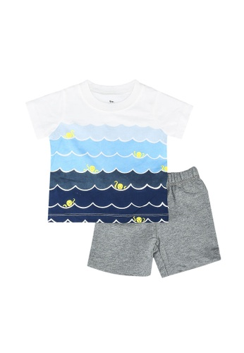 Milliot & Co. blue Adrien Boys Top & Bottom Set E2C0AKAF8E1A70GS_1