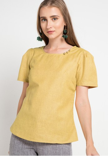 WHITEMODE yellow Katherine Blouses A5982AA2BAE288GS_1
