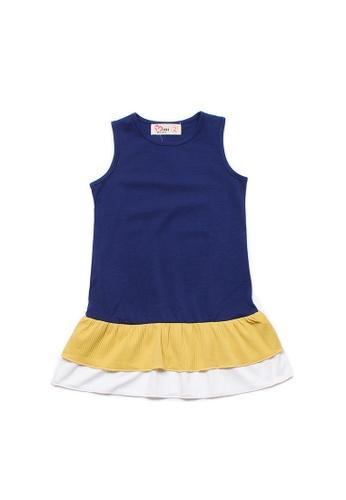 Mini Moley navy Tiered Ruffle Girl's Sleeveless Shift Dress E5A69KA9A289FAGS_1