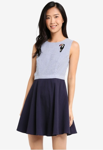 ZALORA blue and multi Patch Detail Sleeveless Skater Dress 001B4AA0637E8AGS_1