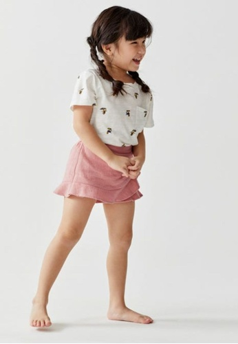 Love, Bonito pink Maia Ruffle Textured Cotton Skorts 63161KA50A5E2BGS_1