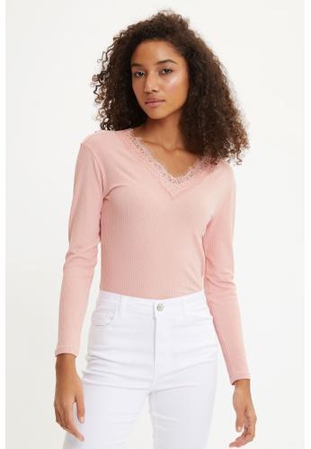 DeFacto pink Woman Knitted Long Sleeve T-Shirt EC25FAA797207EGS_1