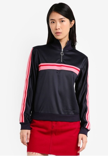 TOPSHOP navy Striped Track Top TO412AA0SZ5DMY_1
