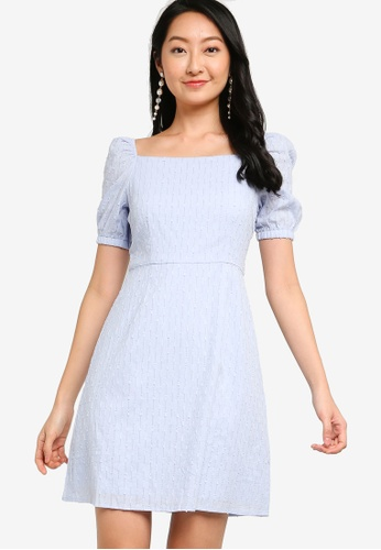 ZALORA BASICS blue Square Neck Eyelet Fit & Flare Dress 79D8FAA7DF1CC3GS_1