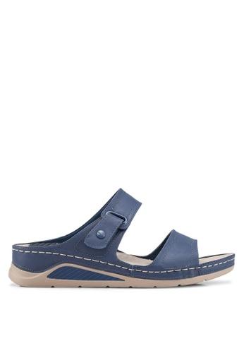 Bata 藍色 懶人楔型鞋 9A2C6SH3A88F13GS_1