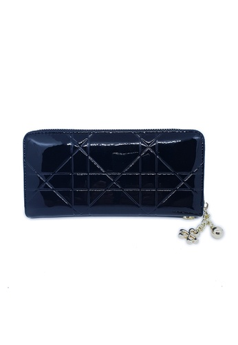 BELLE LIZ black Lines Leather Clutch Ladies Purse Black D4C6EAC2227A4BGS_1