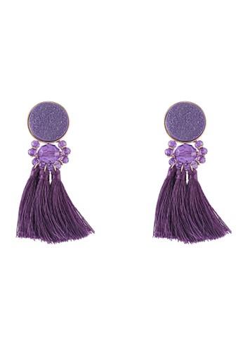 Mango purple Tassels Pendant Earrings BDC32AC6815218GS_1