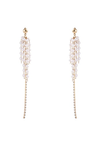 Atrireal beige and gold ATRIREAL - Eliot Multi-pearl with Rhinestone Long Dangle Earrings 49246ACD09EE68GS_1