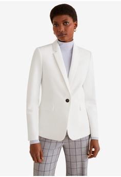 54104e232b443 Mango white Essential Structured Blazer 51119AADE12375GS 1
