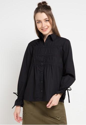 EDITION black and multi Elastic Gathered Shirt F6F75AA80C5E0BGS_1