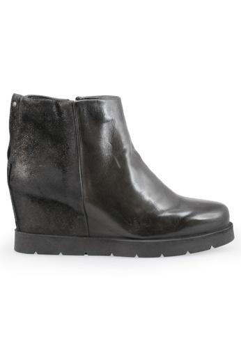 Shu Talk 黑色 型格牛皮內增高短靴 SH544SH0A83MTW_1
