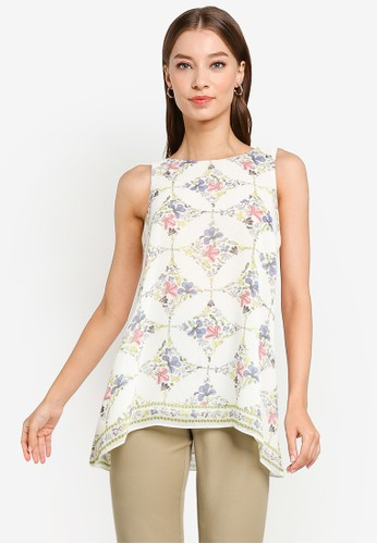 Max Studio pink and beige Crepe Sleeveless Trapeze Blouse 4196AAAC50C525GS_1