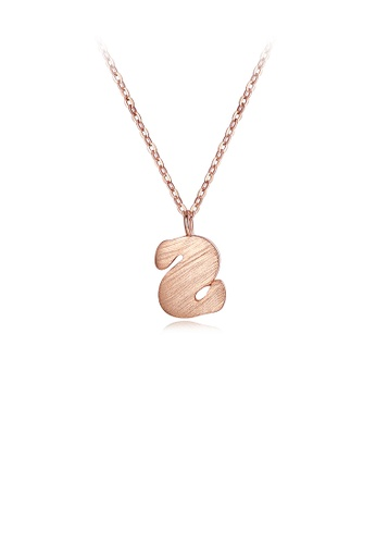 Glamorousky silver 925 Sterling Silver Plated Rose Gold Simple Letter S Matte Pendant with Necklace 24436AC7F0EBF7GS_1
