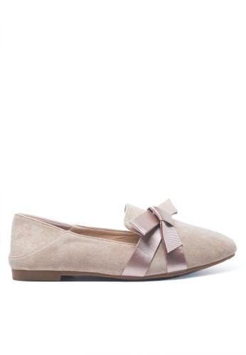 Twenty Eight Shoes beige Silk Bow Loafers D49-88 C8ADASH79ED0E0GS_1