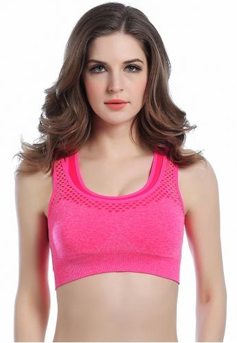 SMROCCO pink Women Sports Running Exercise Well Breathable Padded Bra SP9002-SPI LO761SE42VMJMY_1