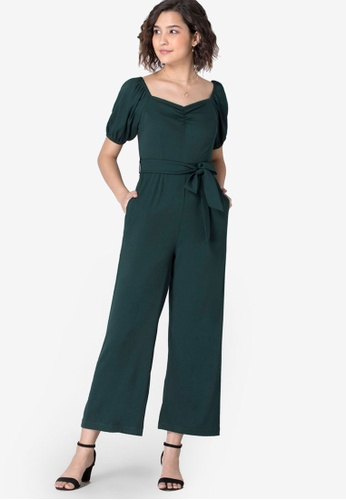 FabAlley green Teal Ruched Jumpsuit with Tan Belt 9DF6CAA253D4ECGS_1