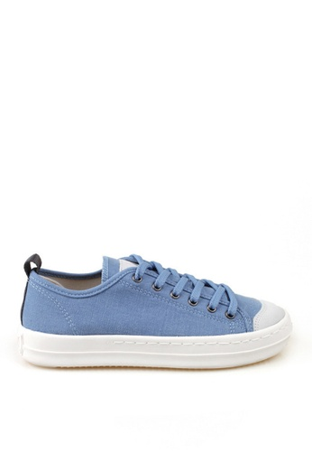 J.DAUL 藍色 經典厚底真皮帆布休閒鞋 JD556SH09Q59TW_1