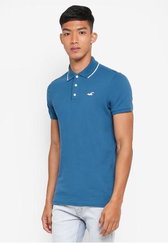 Hollister blue Tipped Polo Shirt 1F6F3AA965D274GS_1