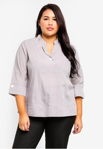 Ex'otico white Plus Size 3/4 Sleeve Striper Blouse 51A86AA139BC33GS_1