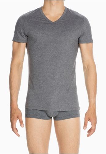 HOM grey Comfort Tee-Shirt V Neck 6F98BUSE281532GS_1