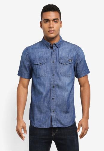 Superdry blue Dragway Denim Shirt AD4C2AAB5DB402GS_1