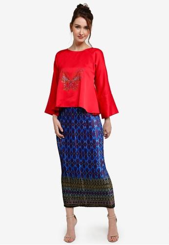 Yans Creation red and green Kurung Kekupu 372B0AA35B8A42GS_1