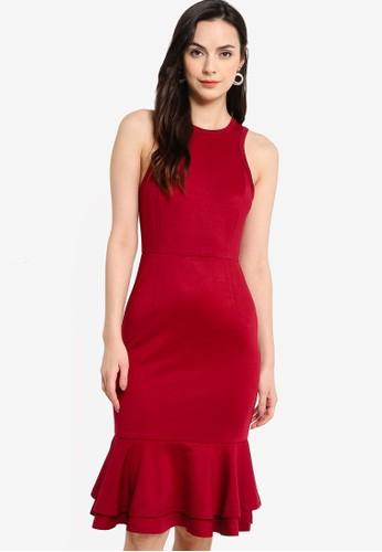 ZALORA WORK red Racerback Fluted Hem Dress 44806AA0C28036GS_1