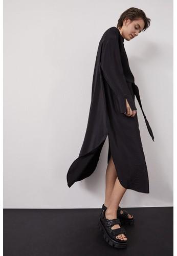 H&M black Tie-front shirt dress 34E8BAA5F9E805GS_1