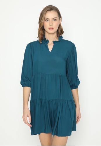 Mannequin blue Ruffle rayon Dress 84C2DAAE0DFF9FGS_1