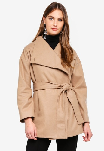67111e662b7 French Connection brown Platform Felt Funnel Neck Coat CF47FAA3EC49CAGS_1