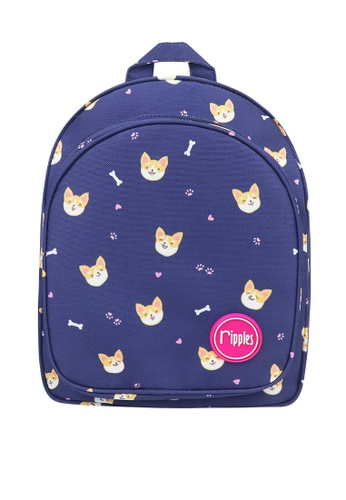 Ripples blue Corgi Dog Digital Print Kids Backpack E0A35KC7366ED5GS_1