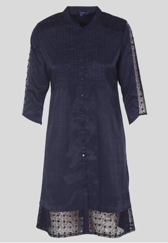 Le Reve blue Le Reve Shirt Style Sheer Lace Tunic 84E46AA799D6B8GS_1
