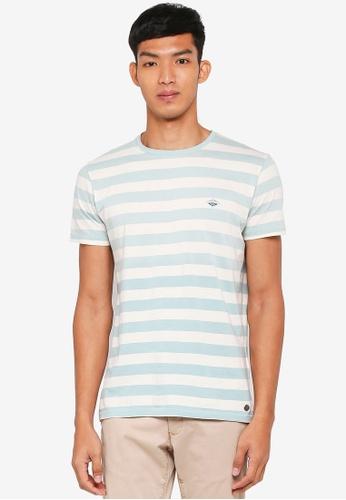 ESPRIT 藍色 Striped Short Sleeve T-Shirt 4145CAA32BEA70GS_1