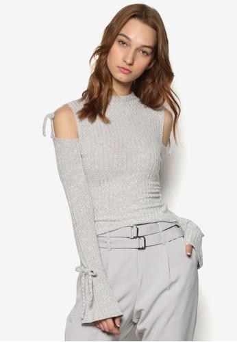 挖肩長袖zalora taiwan 時尚購物網圓領針織衫, 服飾, 服飾