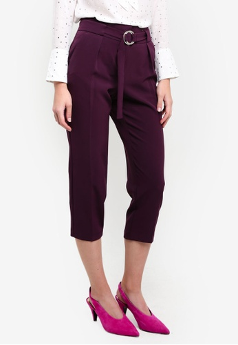 Dorothy Perkins purple Petite Blackcurrent Crepe Tie Trousers DO816AA0RV4TMY_1